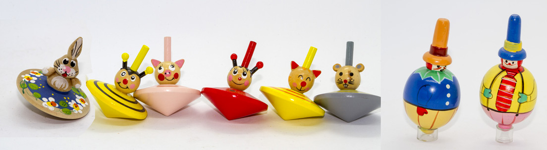 Spinning top with face / Spinning top dolls