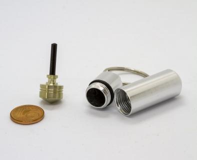 B657 - Schlüsselanhänger mit Mini-Kreisel silber