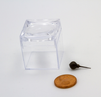 KS810 - Micro wooden spinning top in the magnifier box