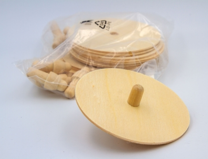 BU369_S - Plywood spinning tops to design yourself (set of 12)